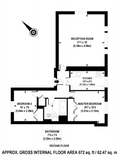 Rental Investment Flat - Two Bedroom (floor plan/before) - London Central Portfolio Limited