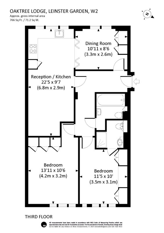 Rental Investment Flat - Two Bedroom (floor plan) - London Central Portfolio Limited