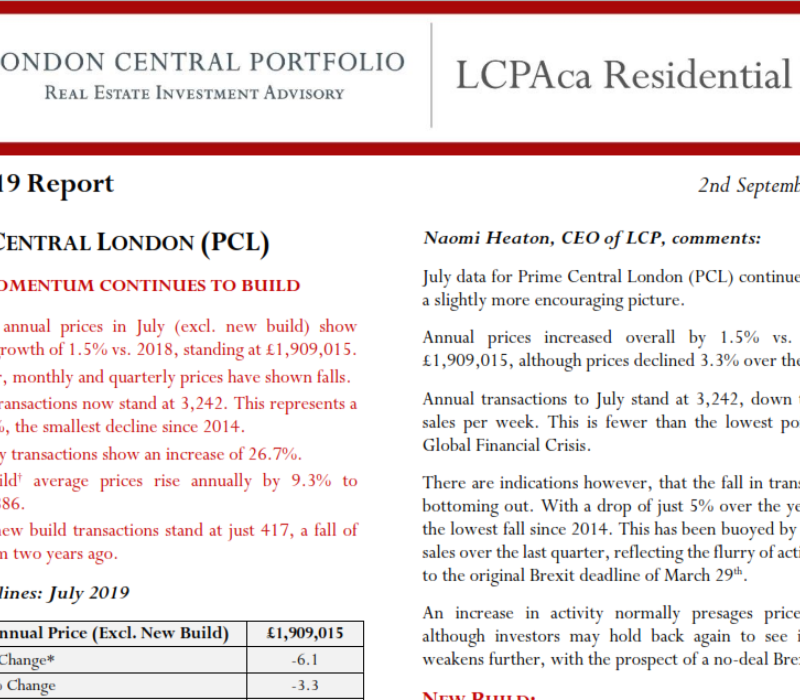 LCPAca Residential Index (July 2019) - London Central Portfolio Limited