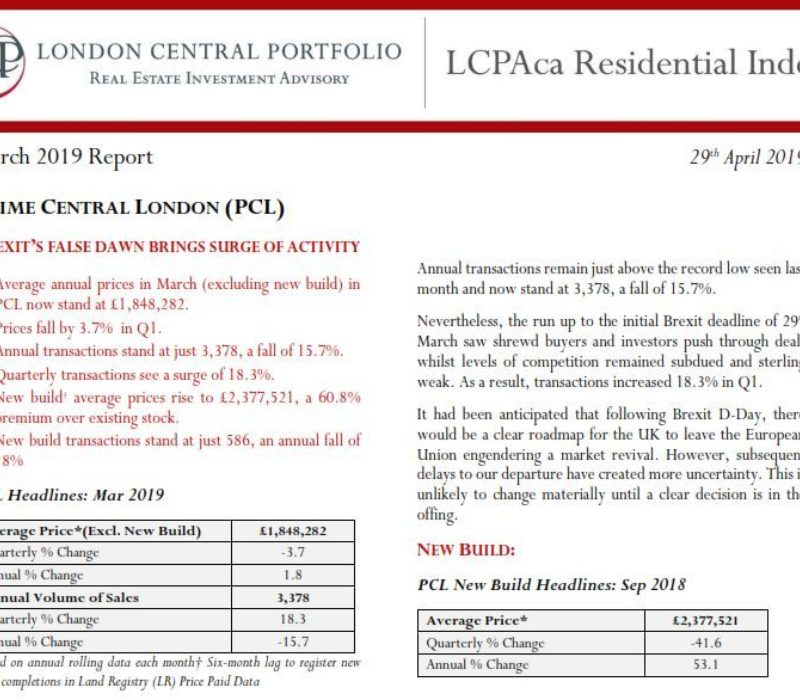 LCPAca Residential Index (April 2019) - London Central Portfolio Limited