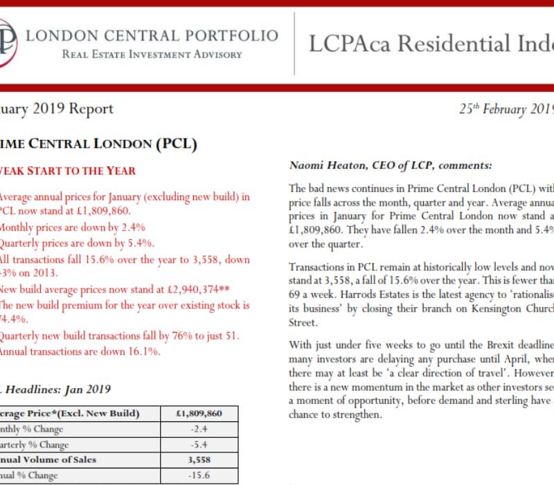 LCPAca Residential Index (January 2019) - London Central Portfolio Limited