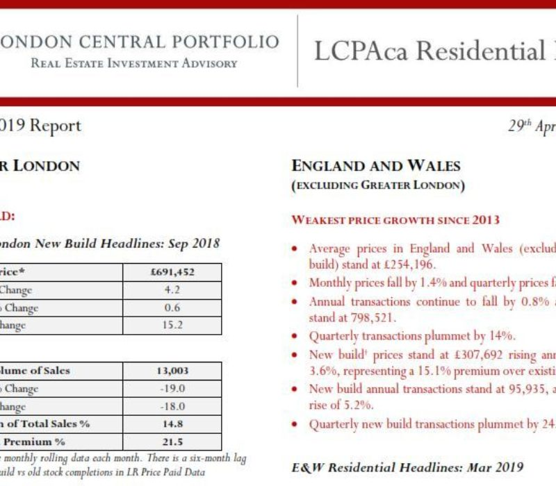 LCPAca Residential Index (March 2019) - London Central Portfolio Limited