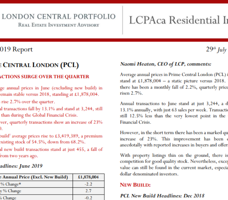 LCPAca Residential Index (June 2019) - London Central Portfolio Limited