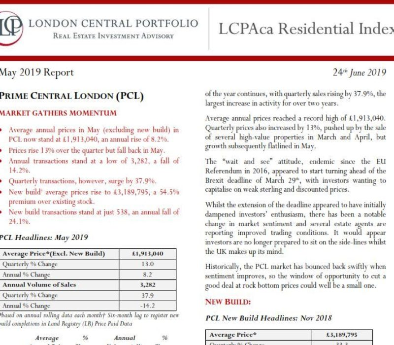 LCPAca Residential Index (May 2019) - London Central Portfolio Limited