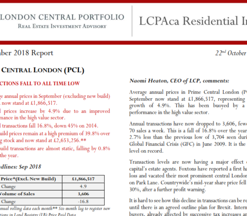 LCPAca Residential Index (September 2018) - London Central Portfolio Limited