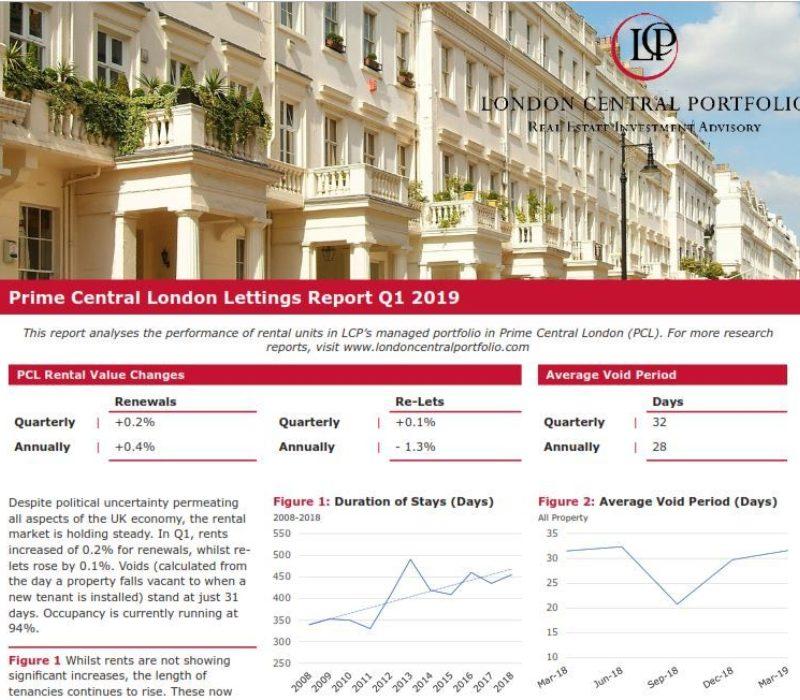 LCP's Prime Central London Lettings Report Q1 2019 - London Central Portfolio Limited