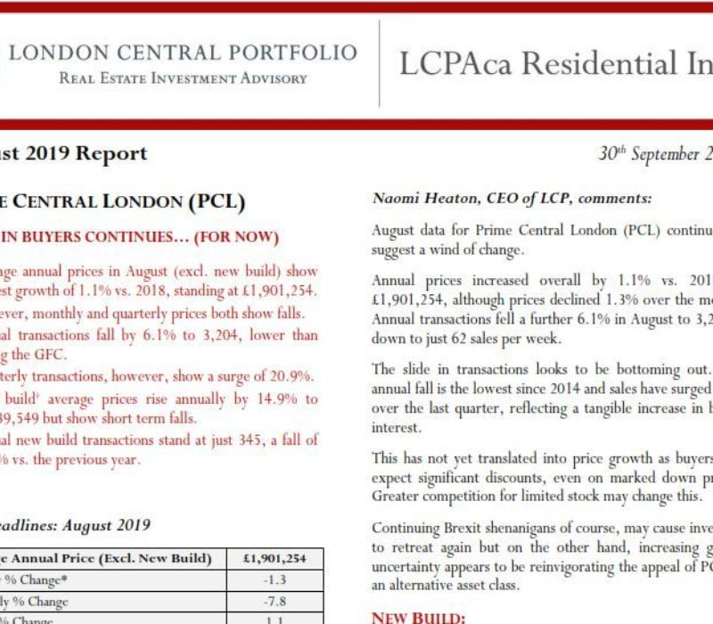 LCPAca Residential Index (August 2019) - London Central Portfolio Limited