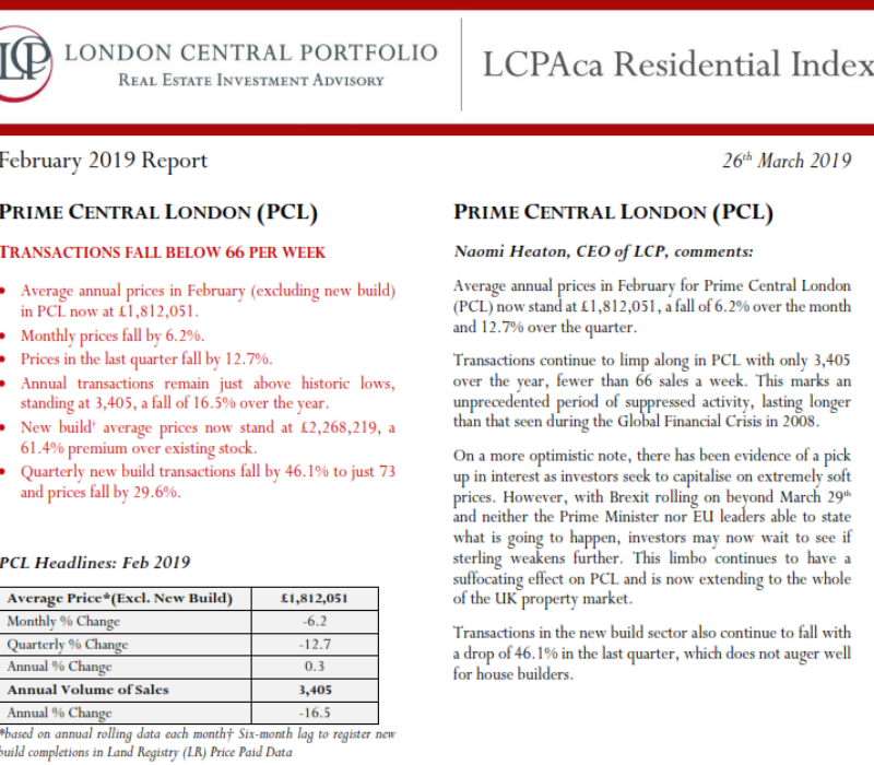 LCPAca Residential Index (February 2019) - London Central Portfolio Limited