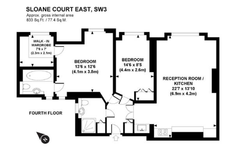 2 bed flat to let, Sloane Court East - London Central Portfolio Limited